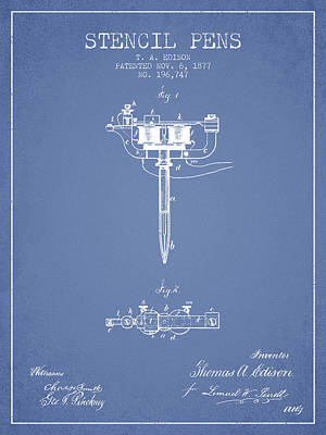 Stencil Pen Patent From 1877 - Light Blue Poster