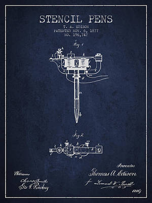 Stencil Pen Patent From 1877 - Navy Blue Poster