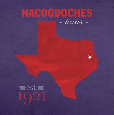 Stephen F Austin University Lumberjacks Nacogdoches Texas College Town Map Pillow Poster
