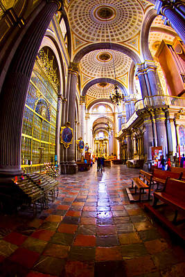 Stepping Into Puebla Cathedral Poster