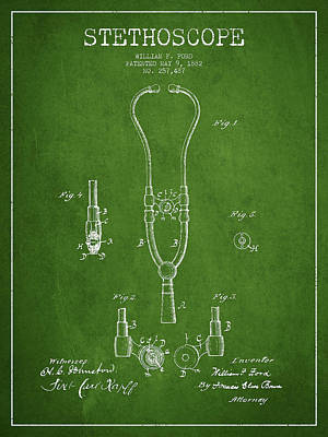 Stethoscope Patent Drawing From 1882 - Green Poster