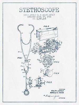 Stethoscope Patent Drawing From 1966 - Blue Ink Poster