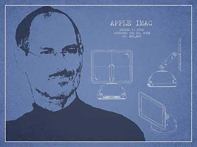 Steve Jobs Imac  Patent - Light Blue Poster by Aged Pixel