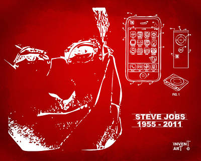 Steve Jobs Iphone Patent Artwork Red Poster by Nikki Marie Smith