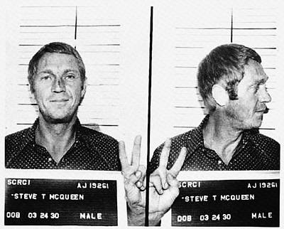 Steve Mcqueen Mugshot Poster by Bill Cannon