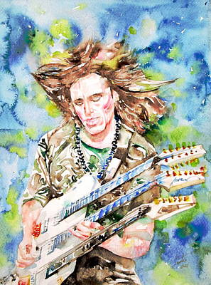 Steve Vai Playing The Guitar -watercolor Portrait Poster by Fabrizio Cassetta