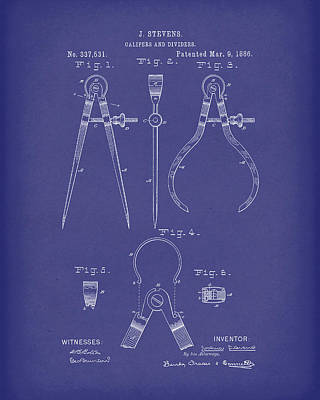 Stevens Calipers And Dividers 1886 Patent Art Blue Poster