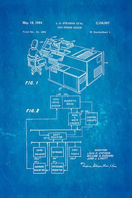 Stevens Data Storage Machine Patent Art 1964 Blueprint Poster by Ian Monk