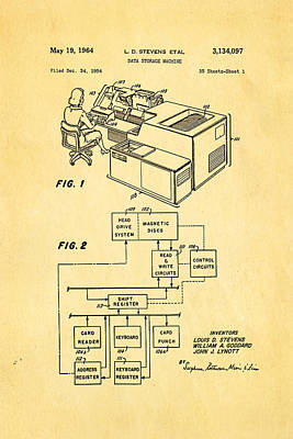Stevens Data Storage Machine Patent Art 1964 Poster by Ian Monk