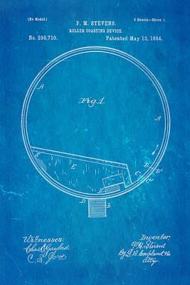 Stevens Roller Coaster Patent Art 1884 Blueprint Poster