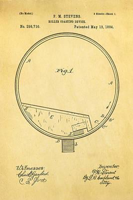 Stevens Roller Coaster Patent Art 1884 Poster