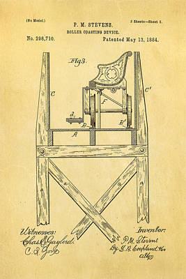 Stevens Roller Coaster Patent Art  3 1884 Poster