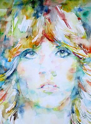 Stevie Nicks - Watercolor Portrait Poster by Fabrizio Cassetta