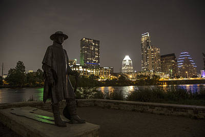Stevie Ray Vaughn Statue Looking Over Autin Poster by John McGraw