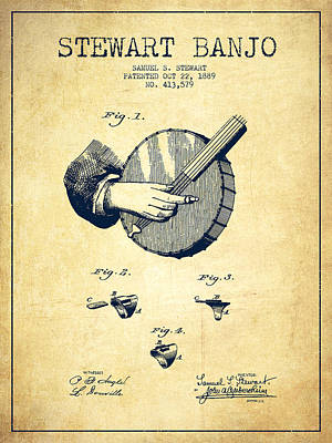 Stewart Banjo Patent Drawing From 1888 - Vintage Poster