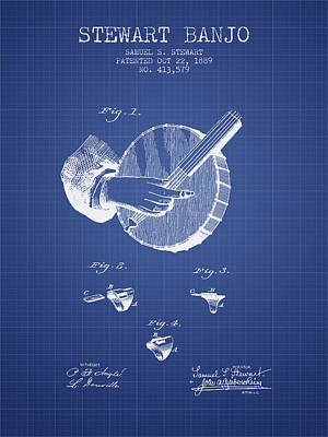 Stewart Banjo Patent From 1889 - Blueprint Poster
