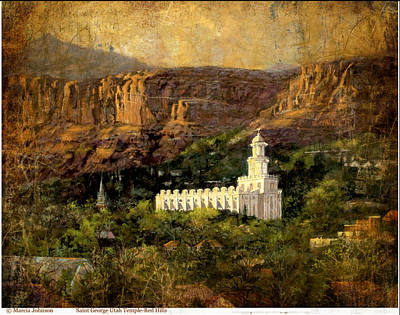 St.george Temple Red Hills Antiique Poster