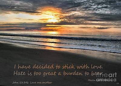 Stick With Love  On A Beach Sunrise Poster by Sandra Clark