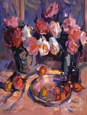 Still Life Apres Manet Poster by David Lloyd Glover