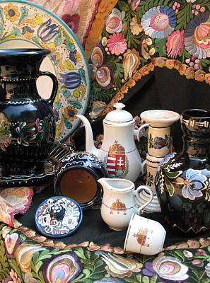 Still Life Hungarian Embroidery Pottery Fine China Magyar Applied Arts Poster by  Andrea Lazar