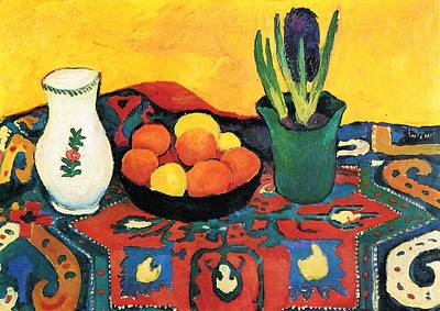 Poster featuring the painting Still Life Hyacinths Carpet  by August Macke