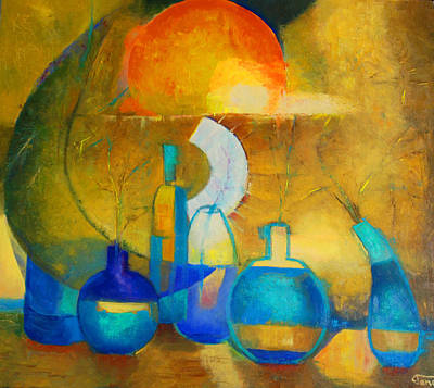 Still Life In Ocher And Blue Poster by Magdalena Walulik