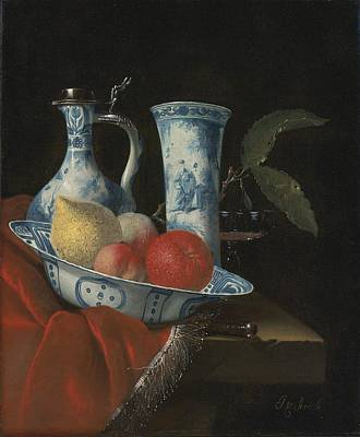 Still Life Of A Blue And White Wan-li Bowl  Poster