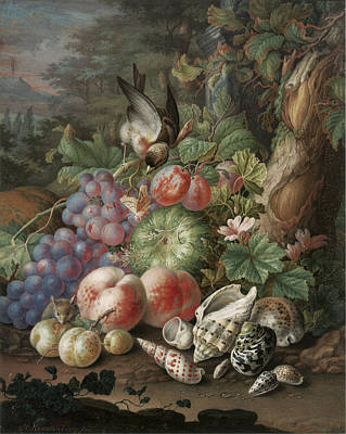 Still Life Of Fruit With A Finch Poster by Herman Henstenburg