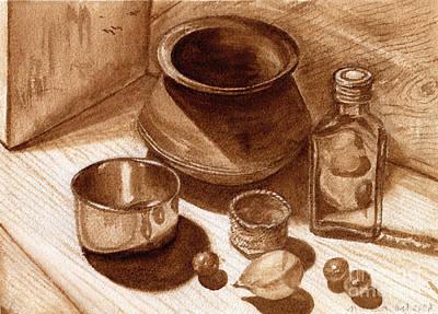 Poster featuring the painting Still Life Walnut Ink by Mukta Gupta