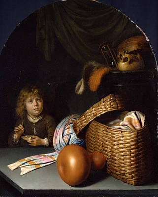 Still Life With A Boy Blowing Soap-bubbles Poster by Gerrit Dou