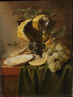 Still Life With A Glass And Oysters Poster by Jan Davidsz de Heem