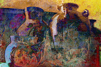 Still Life With Aged Pottery Poster by John Fish