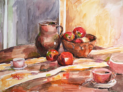 Still Life With Apples Poster by Becky Kim