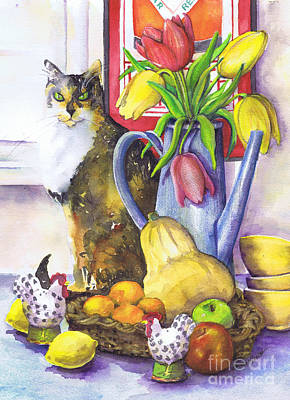 Poster featuring the painting Still Life With Cat by Susan Herbst