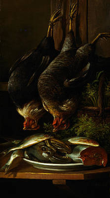 Still Life With Chickens And Fish Poster