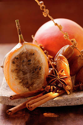 Still Life With Dates, Star Anise, Cinnamon, Granadilla And Mango Poster