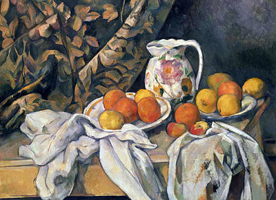 Still Life With Drapery Poster by Paul Cezanne