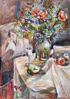 Still Life With Figural Background Poster by Becky Kim