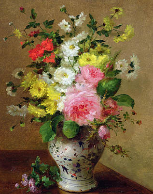 Still Life With Flowers In A Vase Poster by Louise Darru