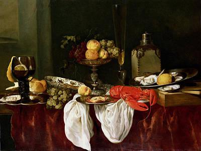 Still Life With Lobster Oil On Canvas Poster by Abraham Hendricksz van Beyeren