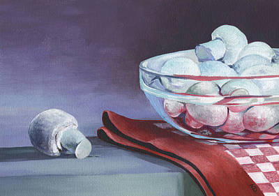 Poster featuring the painting Still Life With Mushrooms by Natasha Denger