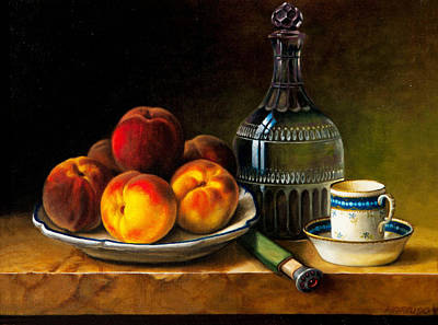 Still Life With Peaches Poster by Bernadette Harrison
