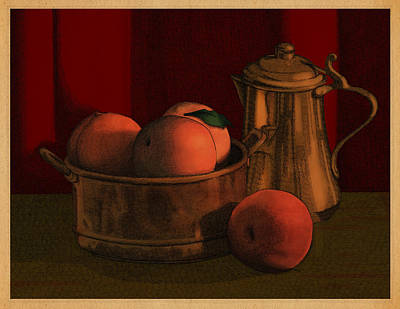 Poster featuring the drawing Still Life With Peaches by Meg Shearer