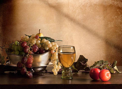 Still Life With Roemer-grapes And Red Plums Poster