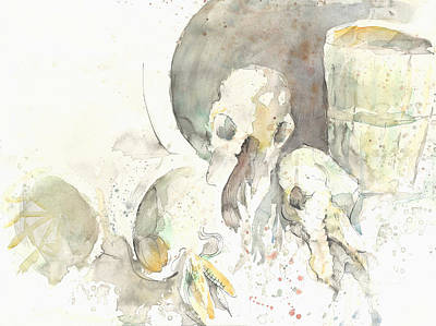 Still Life With Skulls Poster by Melinda Dare Benfield