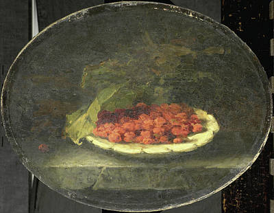 Still Life With Strawberries In A White Bowl Poster