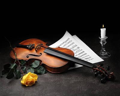 Still Life With Violin Poster by Krasimir Tolev