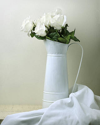 Still Life With White Roses Poster by Krasimir Tolev