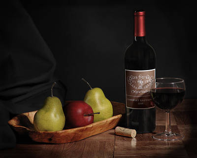 Still Life With Wine Bottle Poster by Krasimir Tolev