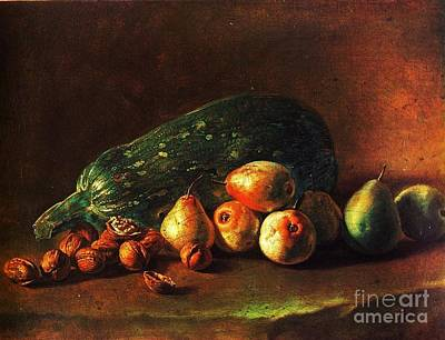 Still Life - Zuchini -pears - Walnuts Poster by Pg Reproductions